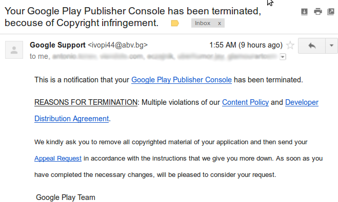 Your Google Play Publisher Console Has Been Terminated Because Of