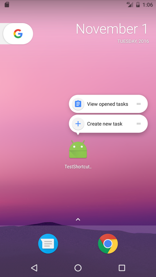 android app shortcuts